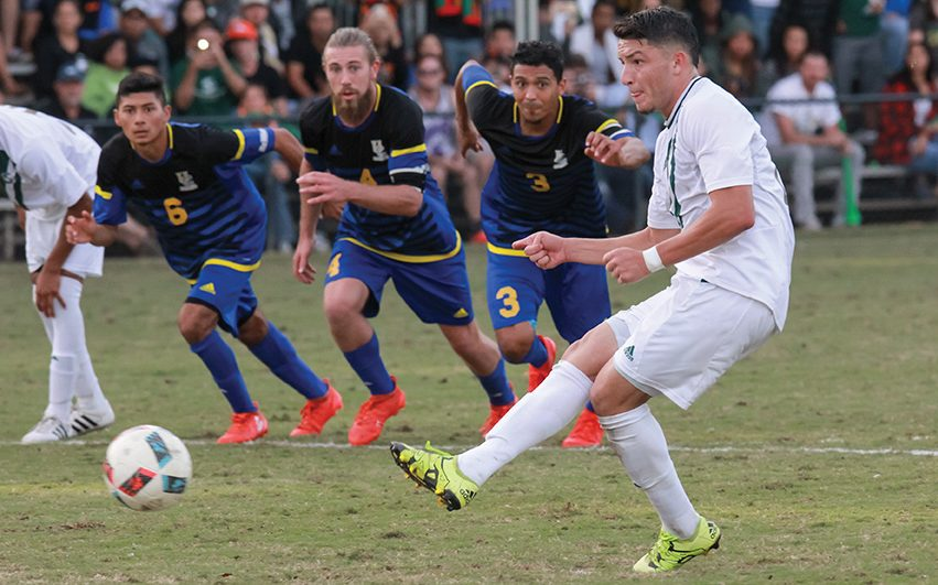 Sacramento+State+senior+forward+Ivan+Ramirez+shoots+the+penalty+kick+for+the+game-winning+goal+against+UC+Riverside+at+Hornet+Field+on+Saturday%2C+Nov.+5.+%28Photo+by+Matthew+Dyer%29