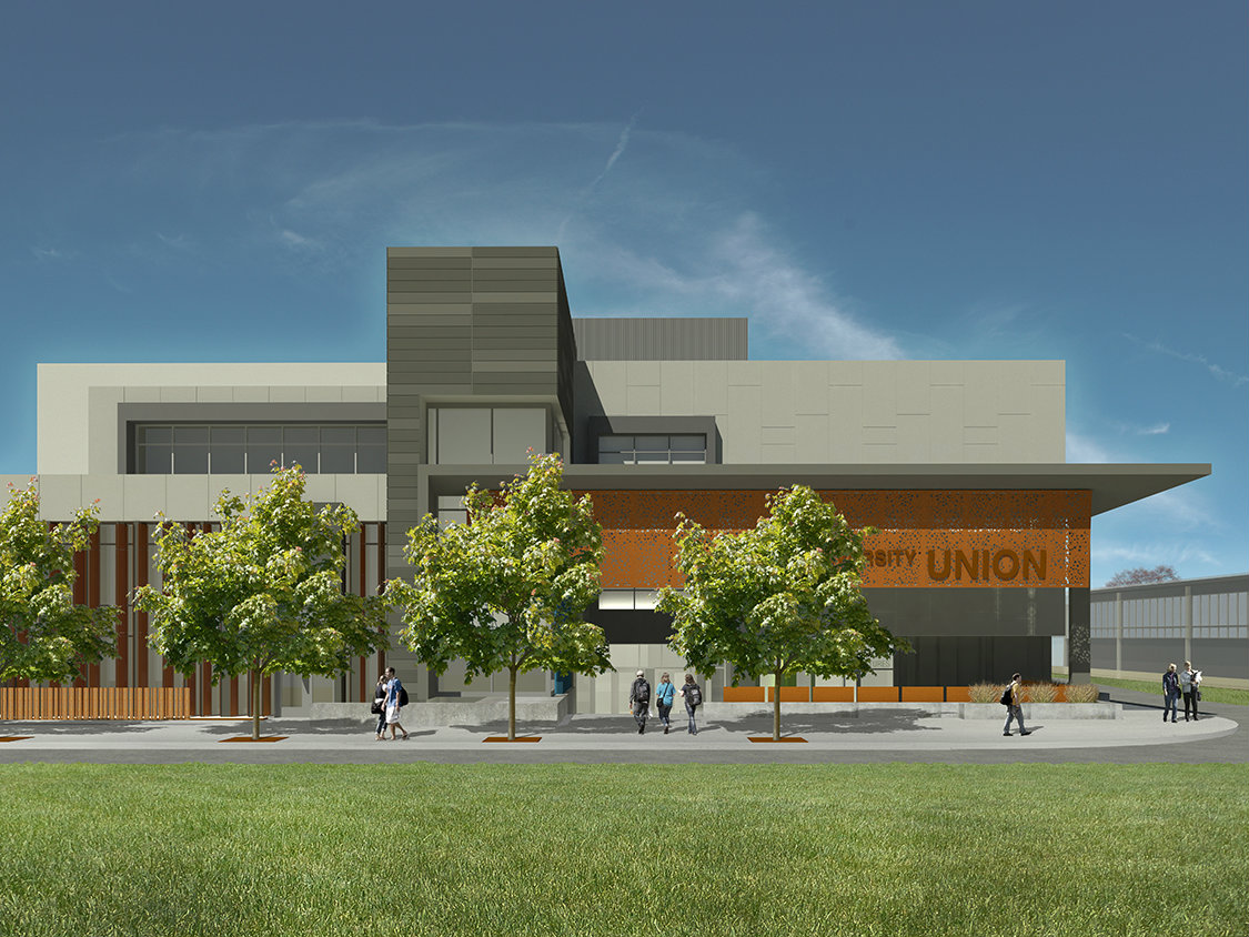 An artist's rendering shows what the University Union is expected to look like when construction is completed in August 2018. Several university facilities are going to be moved when the project begins in January. (Rendering courtesy of Union WELL, Inc.)