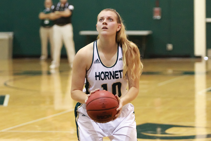 Sacramento State senior forward Margaret Huntington attempts a free throw against Holy Names at the Nest on Oct. 30. (Photo by Matthew Dyer)