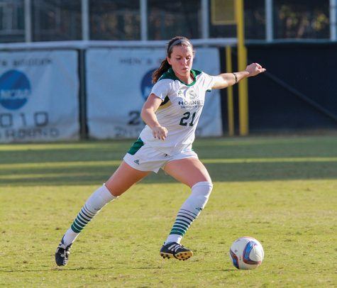 Sacramento State senior defender Rachel Leonard prepares to pass the ball to a teammate against Nevada on Sept. 9 at Hornet Field. (Photo by Matthew Dyer)