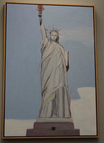 """Gregory Kondos artwork, """"Lady Liberty,"""" currently hangs in the University Library. (Photo by Edrian Pamintuan)"""
