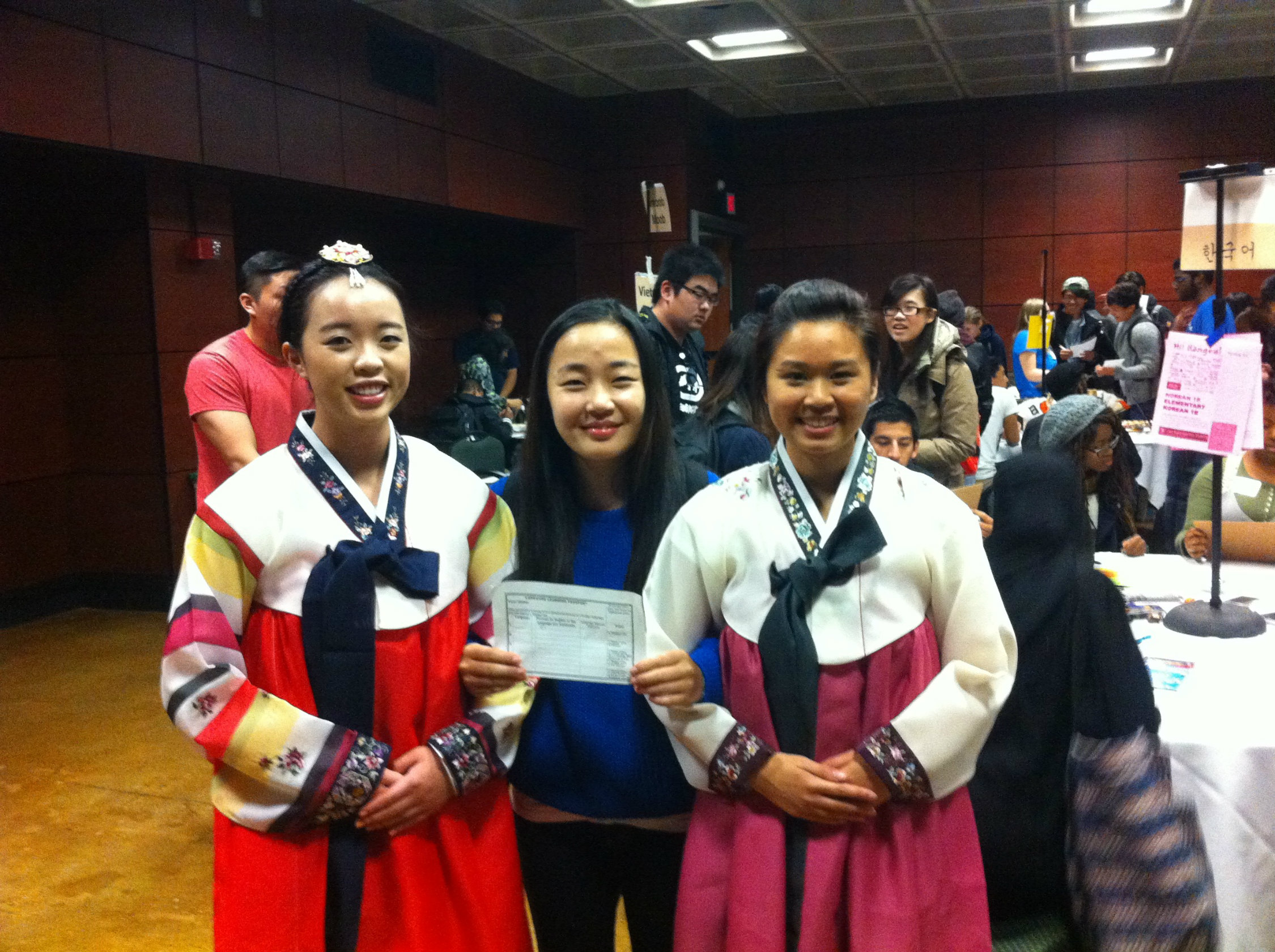 Two students dress in South Korean's traditional Hanboks during Sacramento State's first World Language Day celebration inside the University Union Redwood Room in 2014. (Photo courtesy of Jeremy Durant)