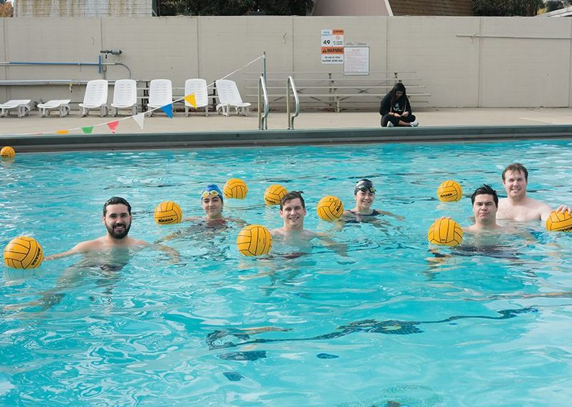 Sacramento State water polo club at the pool at Yosemite Hall on Sunday, Dec. 4. Co-founder and junior Luis Barraza was able to get the club recognized as an official club sport in only four days. (Photo by Matthew Dyer)
