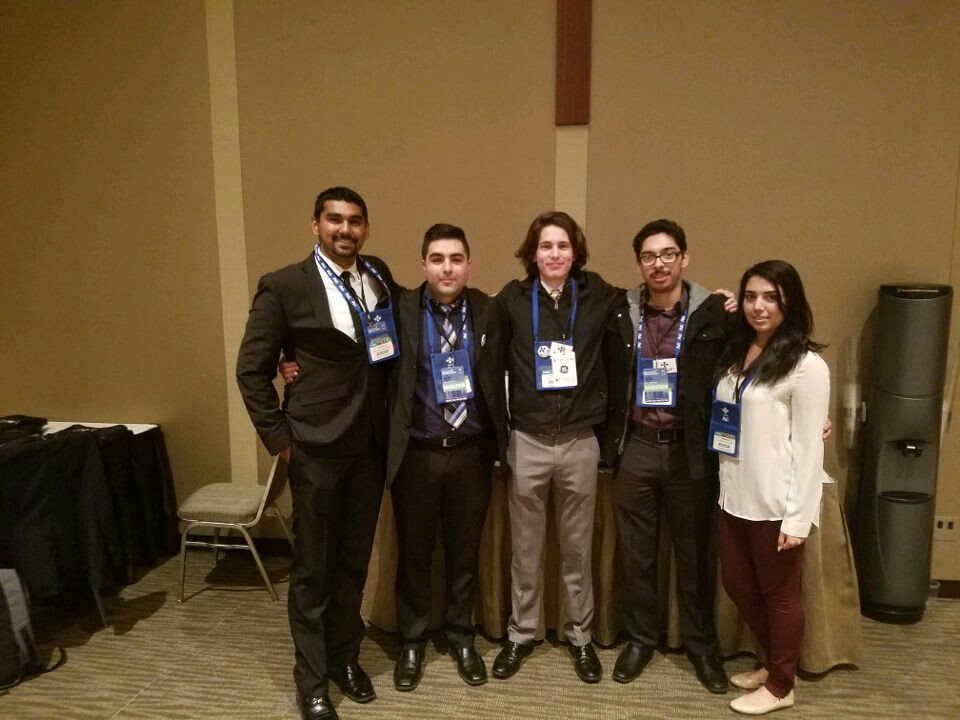 From left to right, Jashmit Singh, German Ortega, Augustine Orozco, Jesus Lopez Reynosa and Vanessa Cruz won $10,000 at a 'hackathon' put on by the Society of Hispanic Professional Engineers at its national conference last month. (Photo courtesy of Augustine Orozco)
