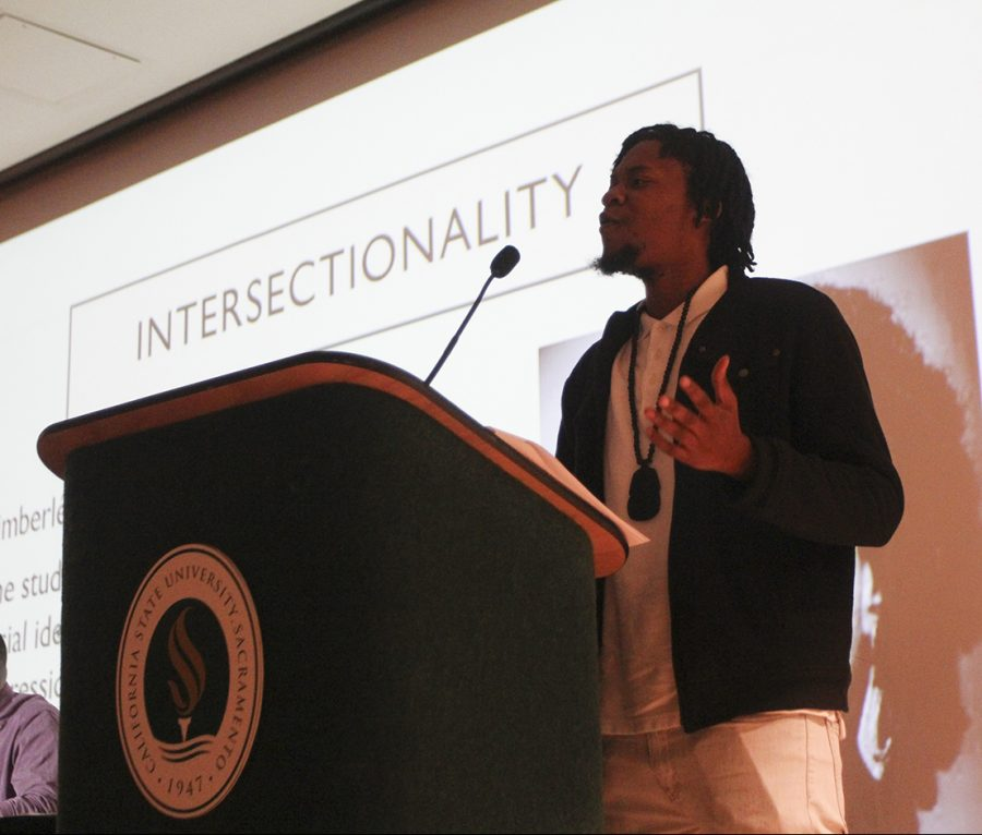 Brent Clark, a graduate student of sociology, stressed the need for students to support professors who create an inclusive environment at a panel discussing the role of empathy on campus. The panel took place on Wednesday, Nov. 30 in the Hinde Auditorium. (Photo by Rin Carbin)