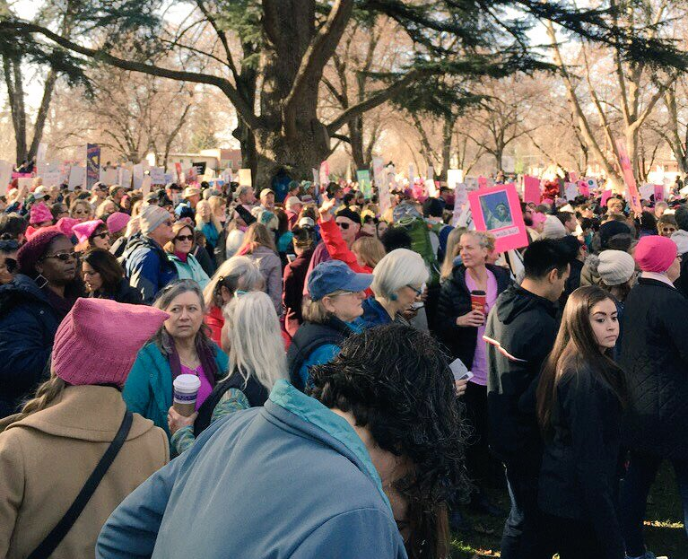 Tens of thousands of demonstrators fill Capitol Mall during the Womens March on Sacramento at the State Capitol on Saturday, Jan. 21, 2016. (Photo by John Ferrannini)