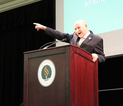 "President Robert Nelsen delivered his spring address on Thursday morning, Jan. 19, at the University Union Ballroom. ""This is the year of us, the year of the Hornets and the year of Sac State,"" said Nelsen. (Photo by Sami Soto)"
