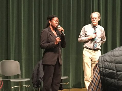 Dr. Olivia Kasirye speaks to attendees at a forum featuring her and fellow physician Dr. Stephen McCurdy about the health concerns of ingesting lead from water on Thursday, Jan. 26 in the University Union. (Photo by Samantha Leonard)
