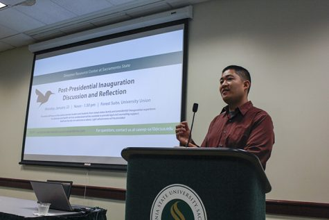 Marcus Tang, an attorney with the California Rural Legal Assistance Foundation, speaks in Sacramento State's University Union on Monday, Jan. 23. Tang said that it is unclear if President Trump will end the Deferred Action for Childhood Arrivals (DACA) program begun by former President Obama. (Photo by John Ferrannini)