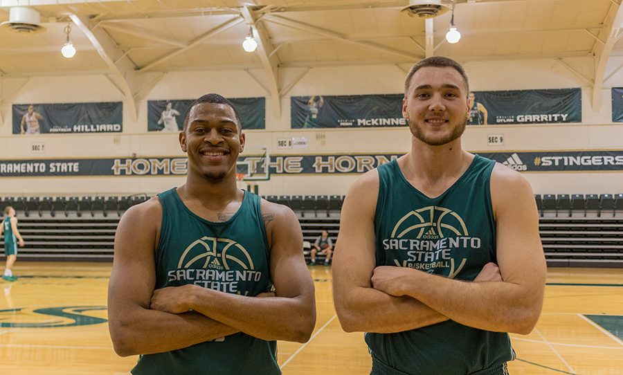 Sacramento State senior captains Nick Hornsby and Eric Stuteville have helped leading men's basketball team to a 8-8 record in the Big Sky Conference. (Photo by Matthew Nobert)