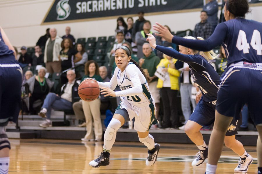 Sacramento+State+freshman+guard+Tiara+Scott+scored+a+career-high+25+points+against+Montana+State+at+the+Nest+on+Feb.+18.+%28Photo+by+Matthew+Dyer%29
