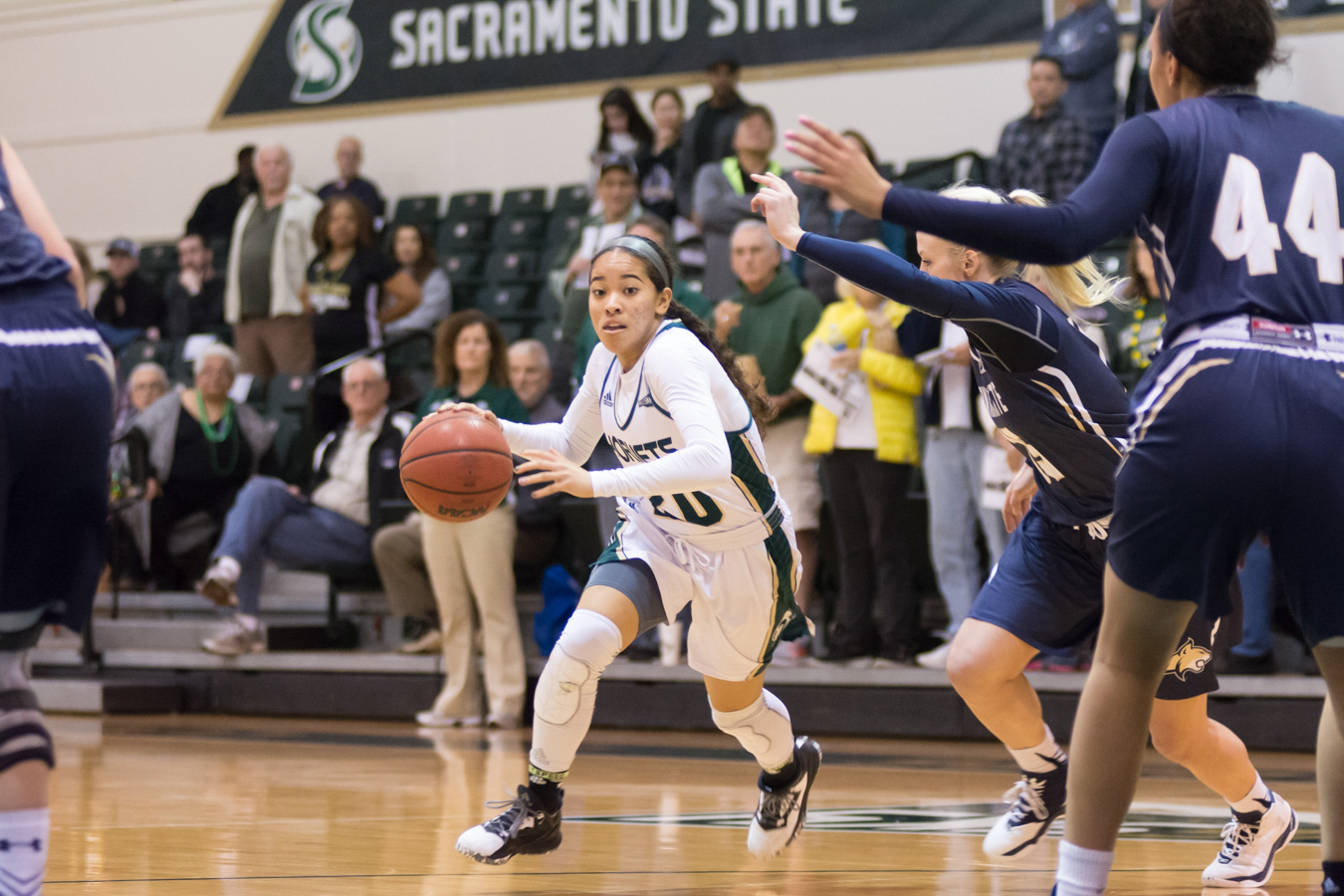 Sacramento State freshman guard Tiara Scott scored a career-high 25 points against Montana State at the Nest on Feb. 18. (Photo by Matthew Dyer)