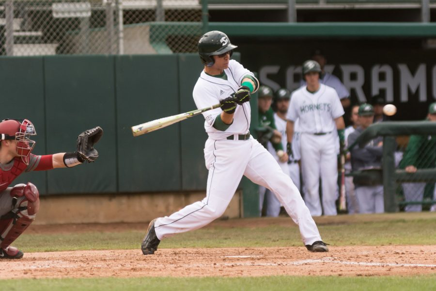 Sacramento+State+senior+infielder+Brandon+Hunley+swings+and+makes+contact+for+a+base+hit+against+Washington+State+Saturday+at+John+Smith+Field.+%28Photo+by+Matthew+Dyer%29