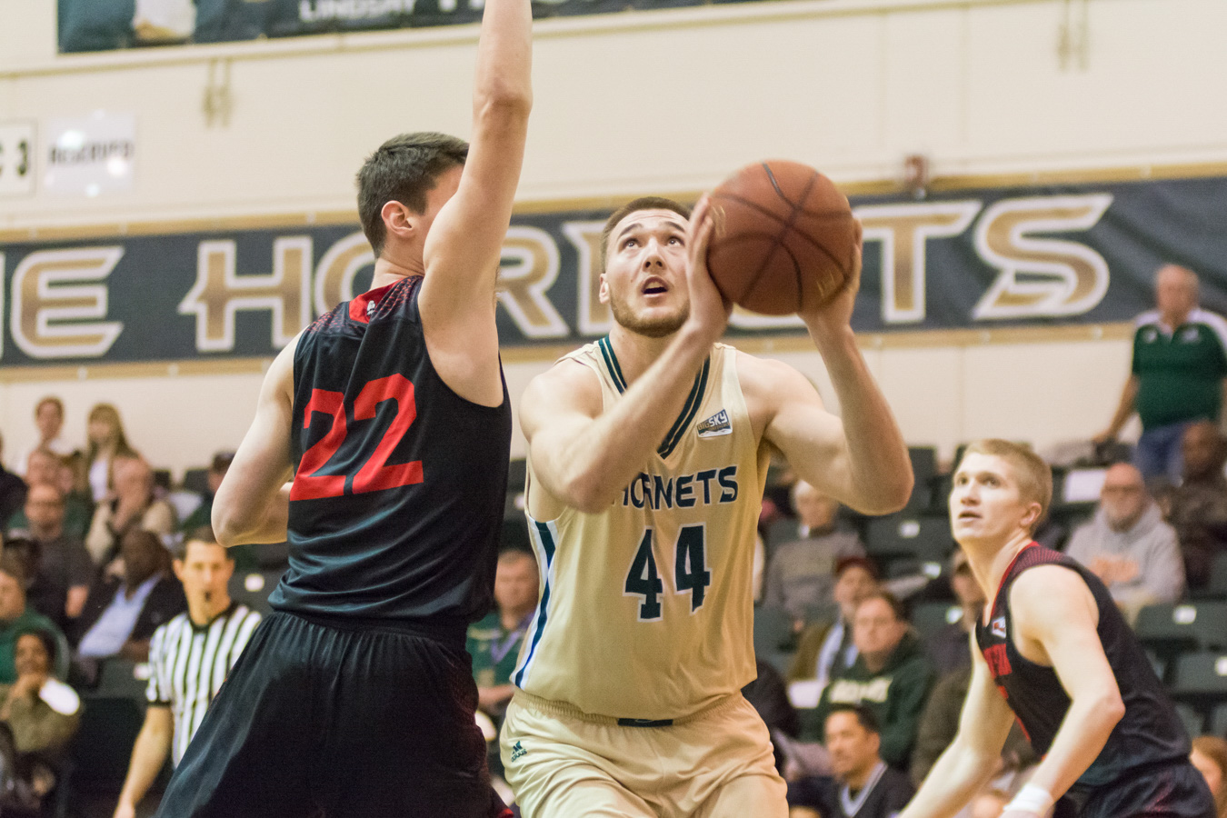 Sacramento State senior center Eric Stuteville attempts a shot against Ivan Madunic of Southern Utah Saturday at the Nest. (Photo by Matthew Dyer)