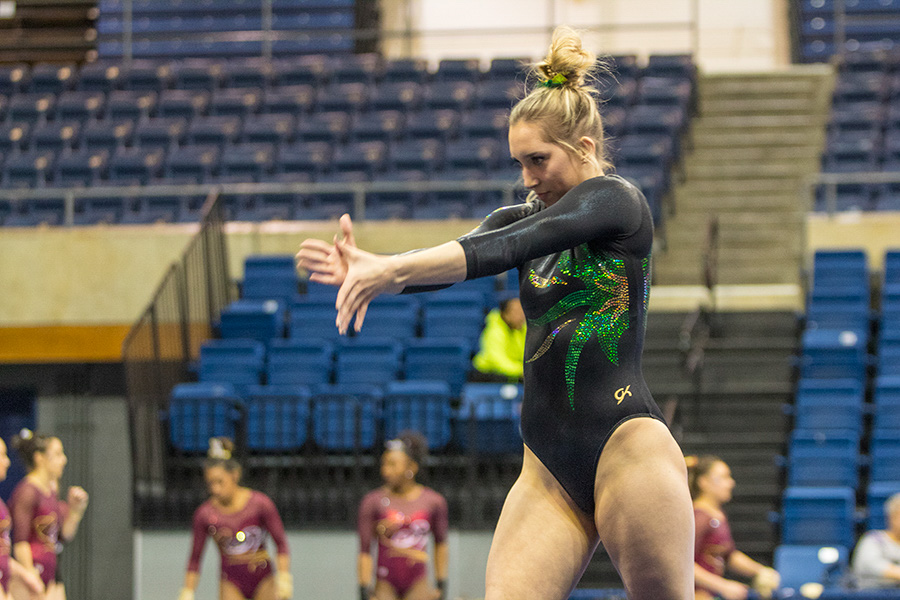 Sacramento State freshman gymnast Tara Catour performs her floor routine Jan. 29 at UC Davis. (Photo by Matthew Nobert)