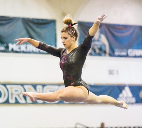 Senior night ends in second place finish for gymnastics team