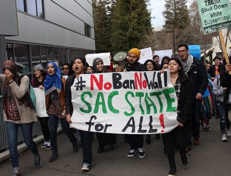 Hundreds march against Trump travel ban at Sac State