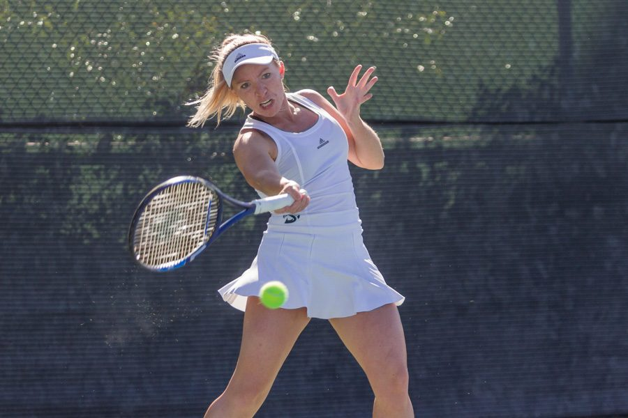 Sacramento+State+senior+Andie+Mouzes+forehands+the+ball+against+Adriana+Gergelyova+of+Nevada+during+a+singles+match+at+the+Sac+State+tennis+courts+Sunday.+%28Photo+by+Matthew+Dyer%29