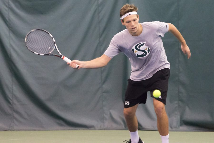 Sacramento State sophomore Mikus Losbergs earned second team all-Big Sky Conference selection as a true freshman in 2016. Losbergs played for the Latvian national team and ranked in the top 300 in International Tennis Federation. (Photo by Matthew Dyer)