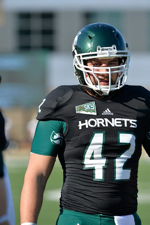 Sacramento State football alumnus Josh Latham played for the Hornets from 2013 to 2015. Latham signed a three-year contract with the New York Jets on Feb. 6. (Photo courtesy of Bob Solorio/Sac State Athletics)