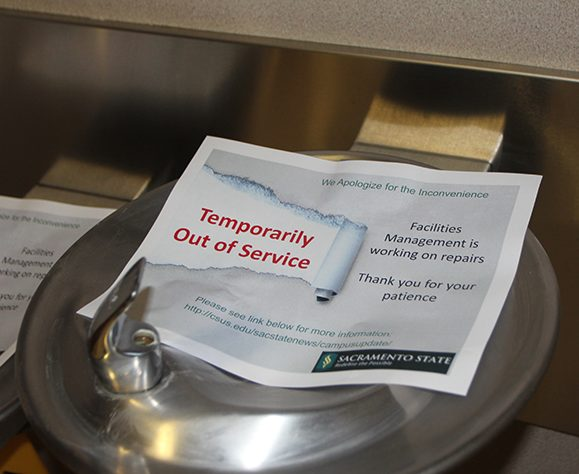Water fountains in Placer Hall, as well as six other Sacramento State buildings, are currently shut off after a research project over winter break found excess levels of lead. '90 percent' of water sources were tested, but there is no indication of when the rest will be tested. (Photo by Kameron Schmid)