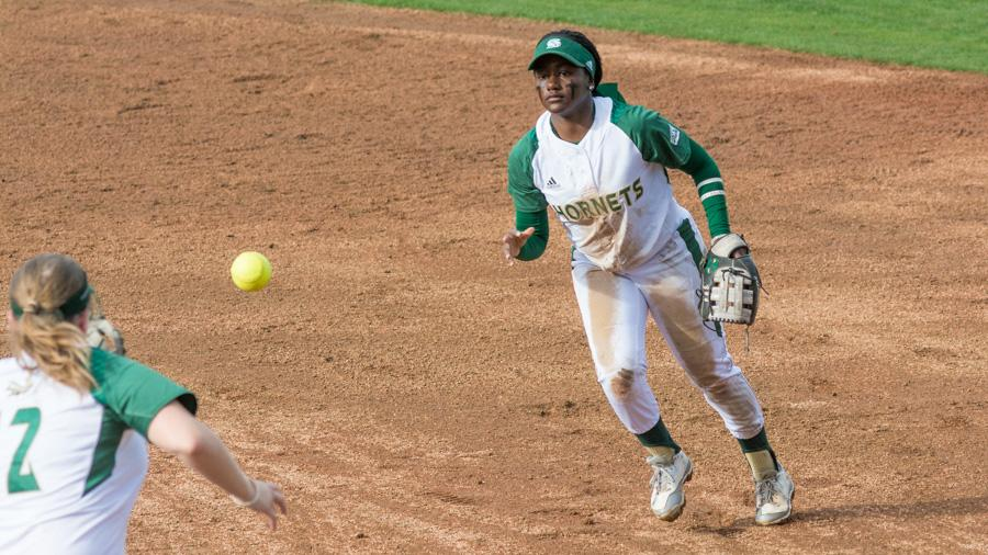 Sacramento State junior second baseman Zamari Hinton throws to first base for an out against UC Davis at Shea Stadium on Feb. 21. (Photo by Matthew Dyer)