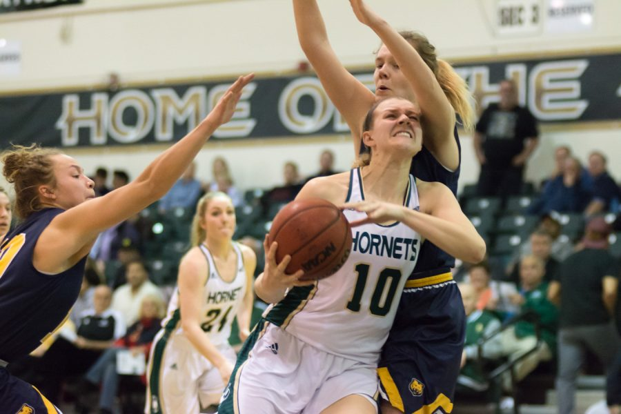 Sacramento State senior forward Margaret Huntington battles Courtney Smith of Northern Colorado in the post Friday at the Nest. (Photo by Matthew Dyer)