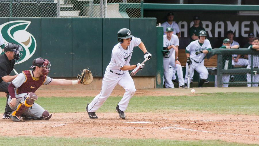Sacramento State junior Andrew McWilliam bunts the ball against Minnesota  Saturday at John Smith Field. (Photo by Matthew Dyer)