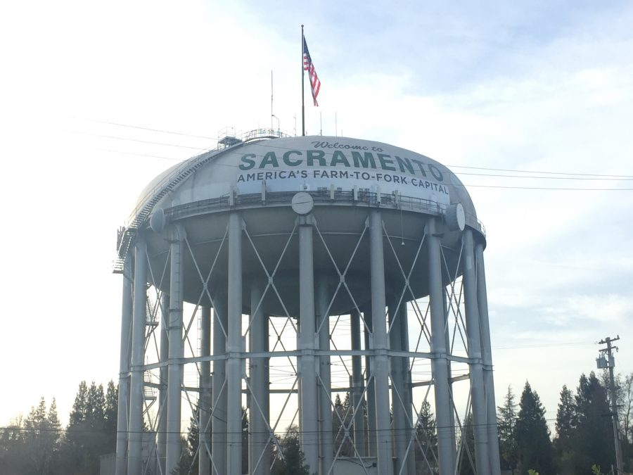The+new+slogan+%22America%27s+Farm-to-Fork+Capital%22+was+painted+over+%22City+of+Trees%22+on+the+I-5+water+tower.+%28Photo+by+Barbara+Harvey%29
