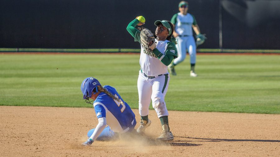 Sacramento+State+junior+second+baseman+Zamari+Hinton+throws+the+ball+to+first+base+for+a+double+play+against+UC+Santa+Barbara+on+March+28+at+Shea+Stadium.+%28Photo+by+Matthew+Dyer%29