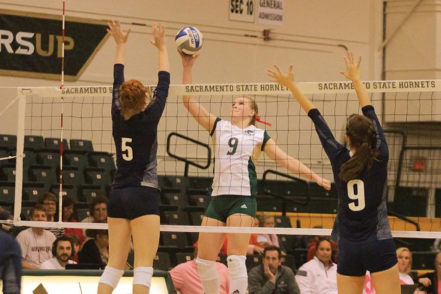 Sacramento State senior outside hitter Shannon Boyle was one of 250 indoor volleyball players who tried out for a spot on three national collegiate teams. (Photo by Matthew Dyer)