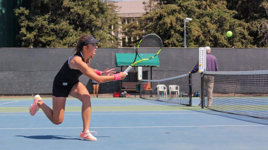 Sacramento+State+freshman+Sofia+Gulnova+forehands+the+ball+against+Cal+Poly+Thursday+at+the+Campus+Tennis+Courts.+%28Photo+by+Raul+Hernandez%29