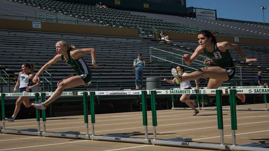 Sacramento+State+senior+Elizabeth+Venzon%2C+left%2C+and+sophomore+Emilia+Del+Hoyo+compete+in+the+100+meter+hurdles+as+a+part+of+the+heptathlon+in+the+Hornet+Invitational+Friday+at+Hornet+Stadium.+%28Photo+by+Matthew+Nobert%29