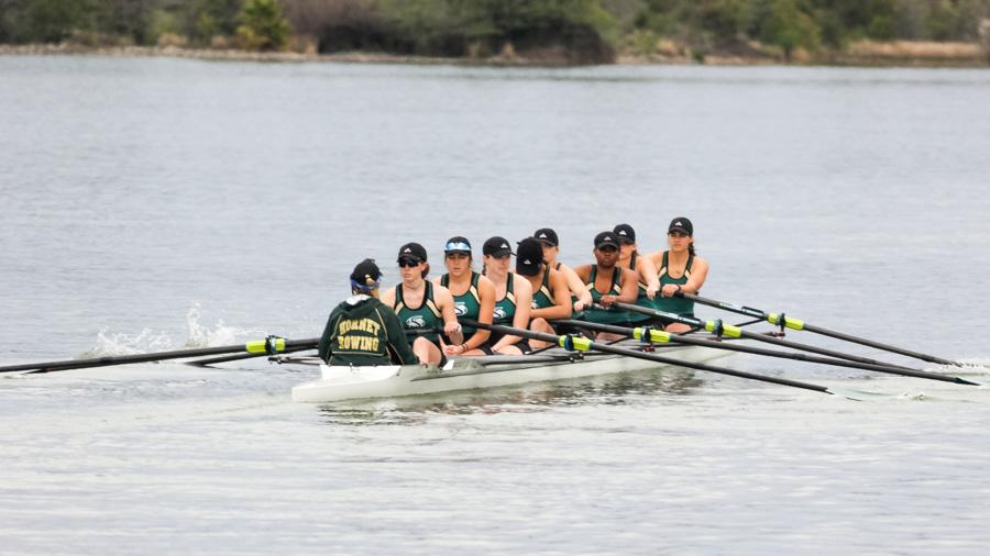 Sacramento State varsity eight finishes first at Hornet Invitational Saturday at Lake Natoma. (Photo by Carlo Marzan)