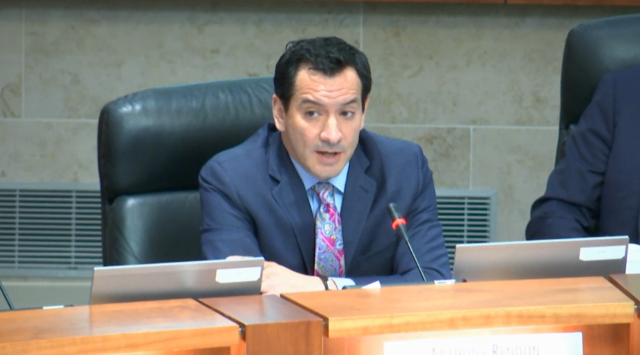 California Assembly Speaker Anthony Rendon, D-Paramount, speaks against a tuition increase that was approved by the California State University Board of Trustees in Long Beach on March 22. (Screengrab courtesy of the California State University)