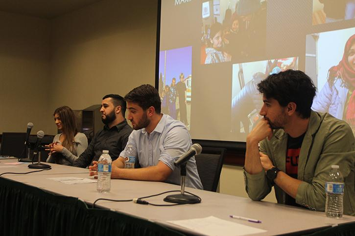 From left to right, panelists Noor Mashal, Hemza Salem, Riad Morrar and Mohammad JD tell their stories of their time in Greece for the