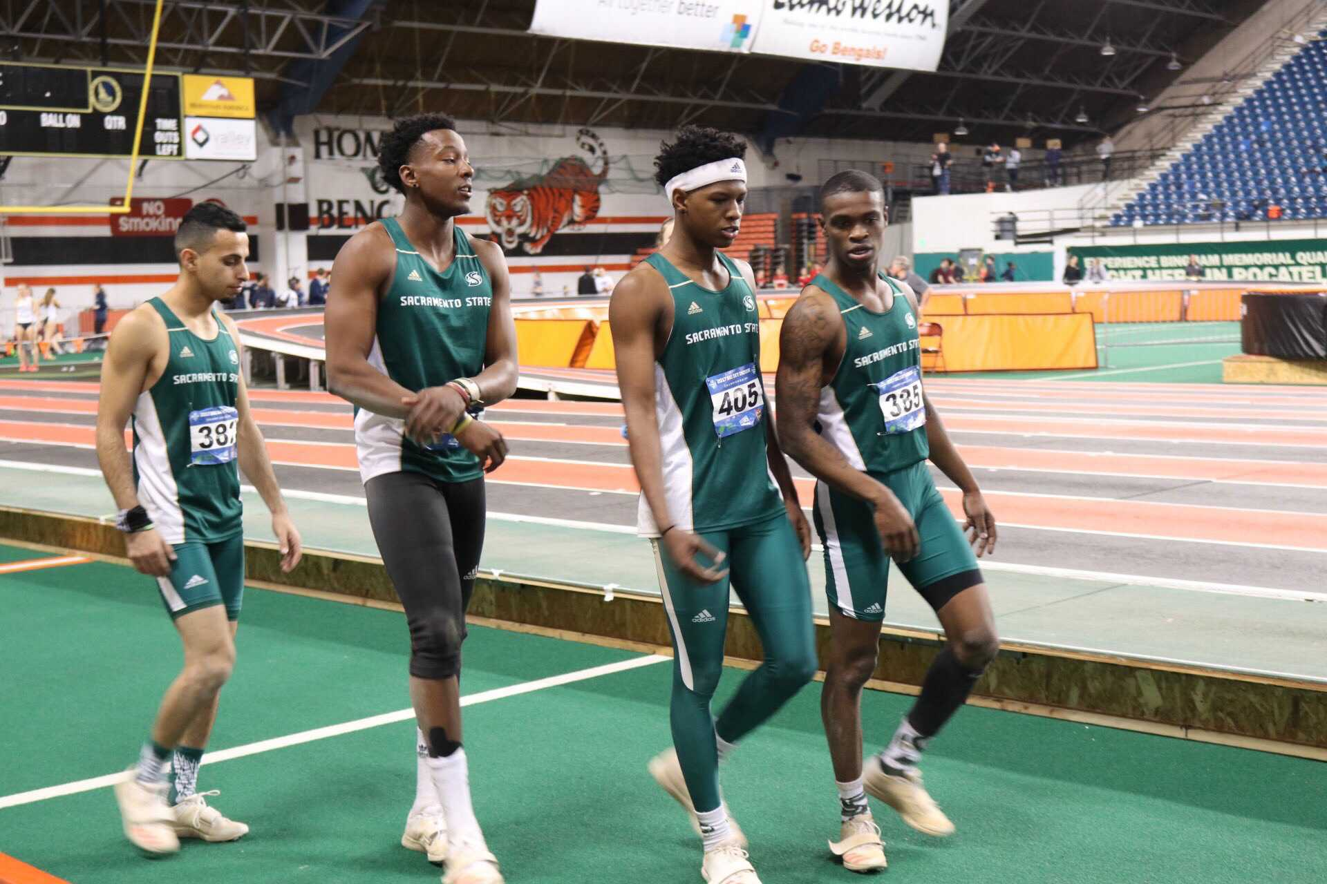 The Sacramento State men's triple-jump team, left to right, Mohamed Abdullah, Gathunga Ndirangu, Jah Strange and Darius Armstead ended the indoor track and field season ranked No. 4 in the country with an average of 14.78 meters. (Photo courtesy of Sacramento State track and field team)