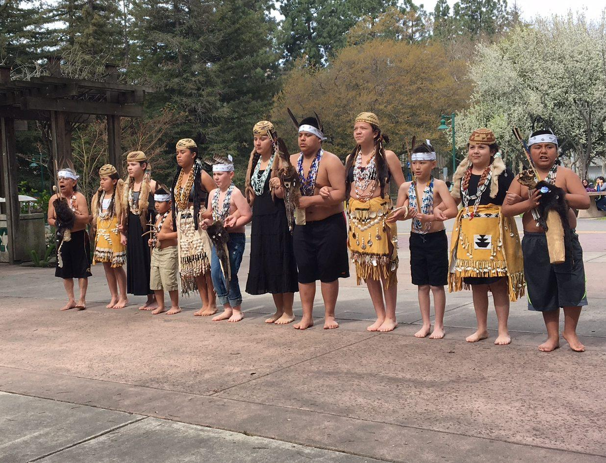 Karuk, a dance group from Yreka, California demonstrate traditional dances at the last event of Native American Culture Week on Friday in the Library Quad. (Photo by Samantha Leonard)