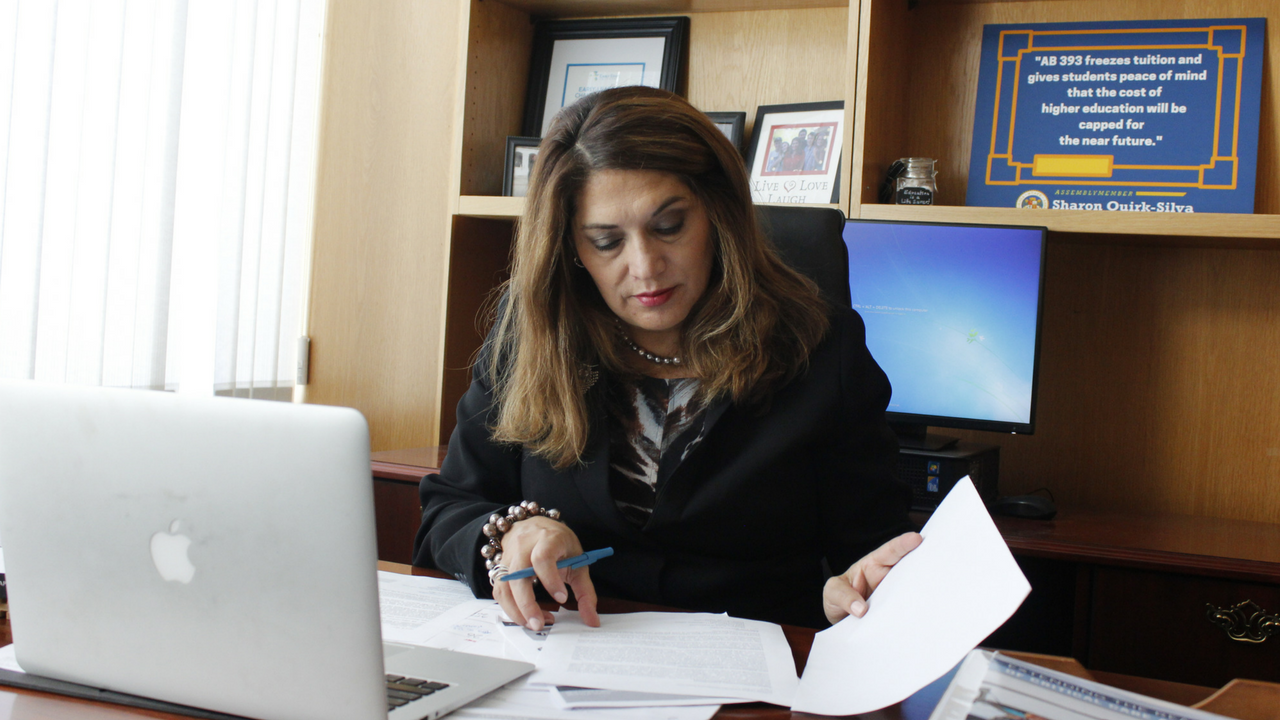 Assemblywoman Sharon Quirk-Silva, D-Fullerton, pictured in her office in the California State Capitol in Sacramento on April 19. Quirk-Silva introduced Assembly Bill 393, which would freeze tuition at all three systems of higher education in the state through the 2019-2020 academic year. (Photo by John Ferrannini)