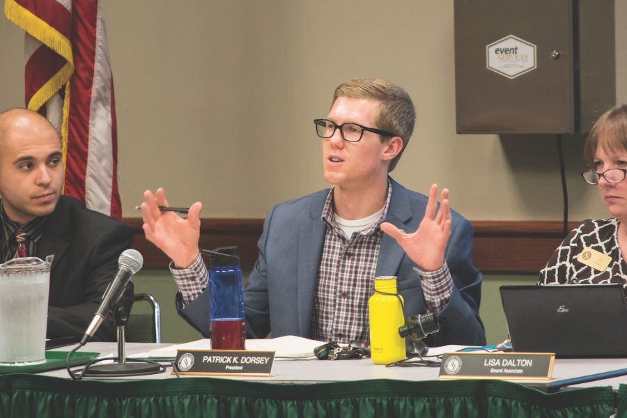 ASI President Patrick Dorsey comments on a presentation about the new student center at the ASI Board meeting in the University Union, Wednesday, Sept. 28, 2016. (Photo by Matthew Dyer)