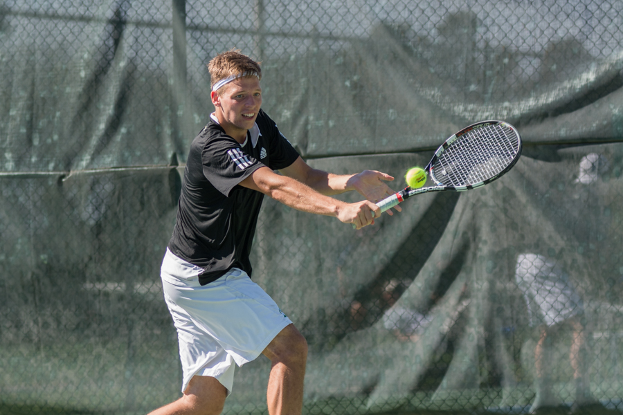 Sacramento+State+sophomore+Mikus+Losbergs+backhands+the+ball+during+a+singles+match+against+Grand+Canyon+at+the+Golden+State+Invite+at+the+Sac+State+Tennis+Courts+on+Saturday%2C+March+11.