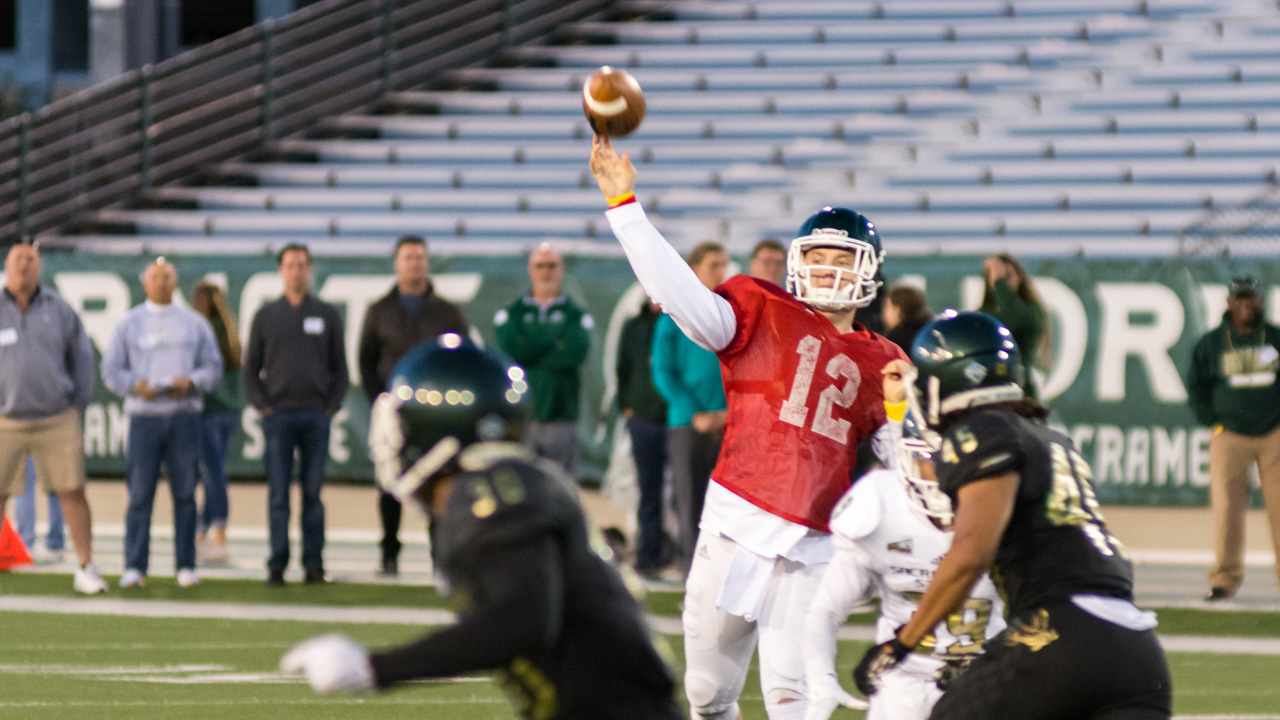 Sacramento State junior transfer quarterback Wyatt Clapper throws the ball for a touchdown during the May 12 spring football scrimmage at Hornet Stadium. (Photo by Matthew Dyer)