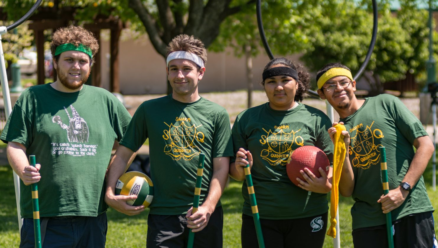 The colors of headbands indicate the position of each player on the team. Keepers green, chasers are white, beaters are black and seekers are yellow. (Photo by Matthew Dyer)
