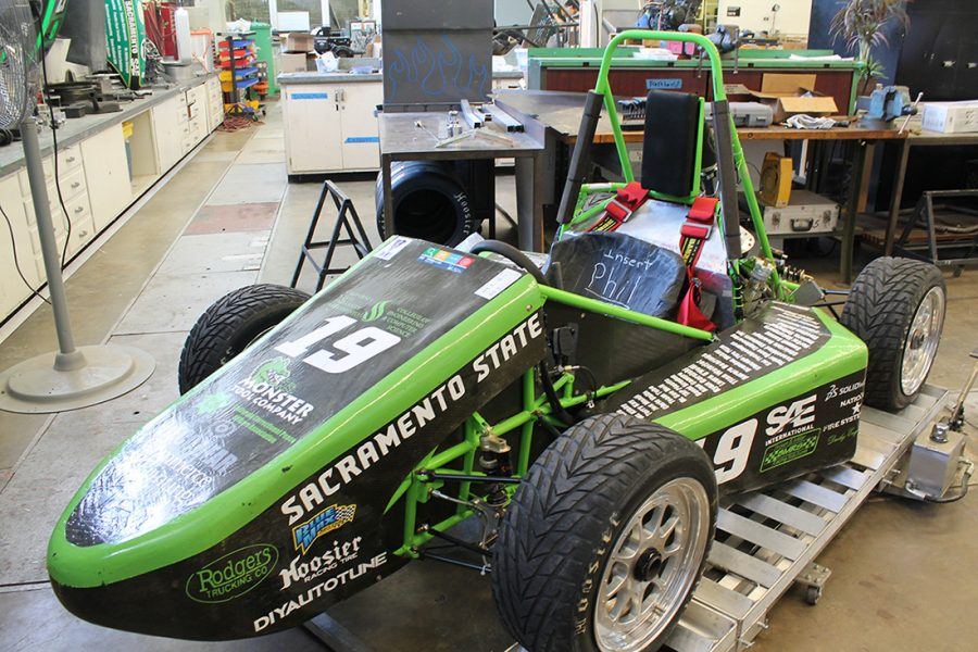 The Sacramento State Hornet Racing team will showcase its vehicle this Saturday for the 2017 Formula Society of Automotive Engineers international competition from June 21-24. (Photo by Sami Soto)