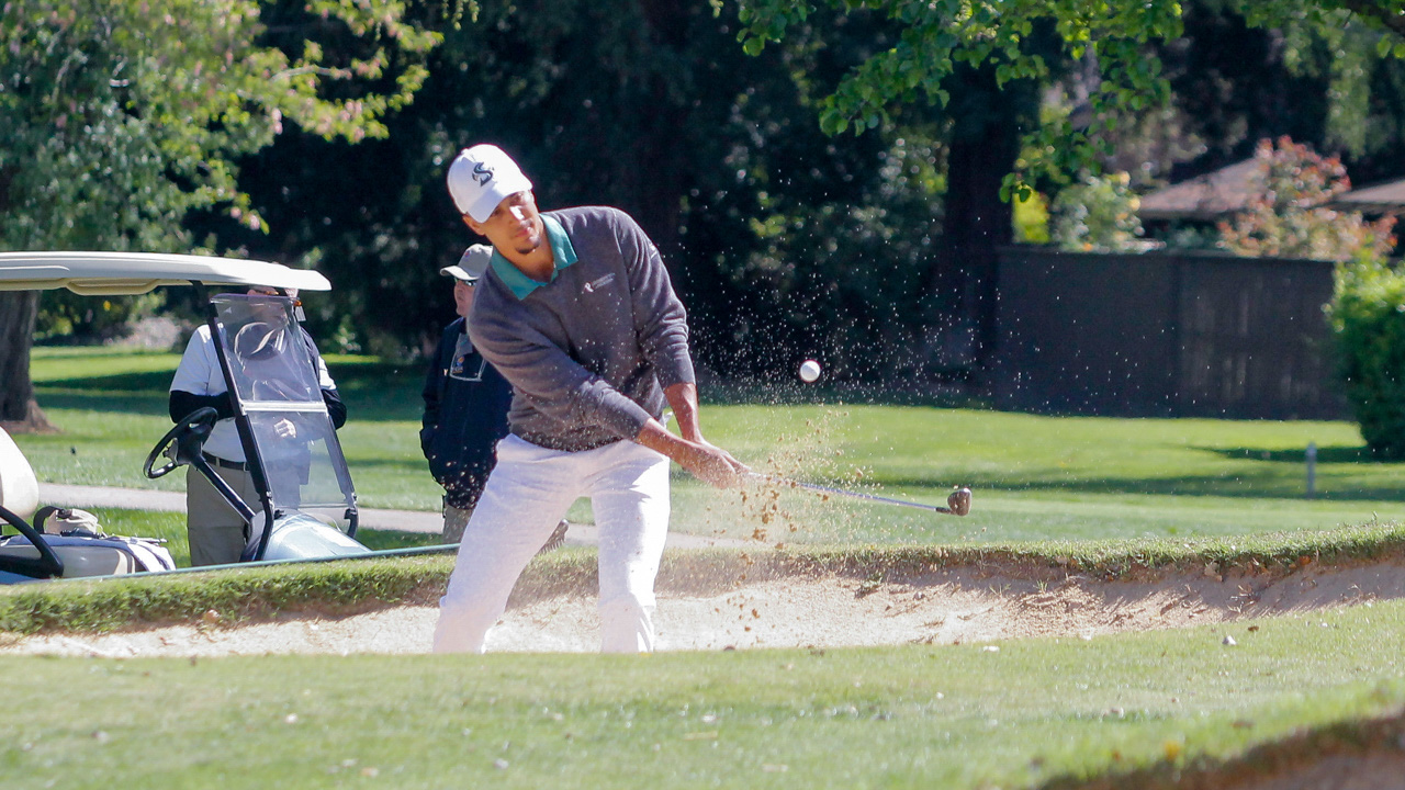 Sacramento State senior Aaron Beverly won an individual title at the Big Sky Championships with a score of 73-70-72-215 to help the Hornets win the team championship on April 30 in Boulder City, Nevada. (Photo by Thomas Frey)