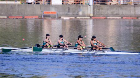 The Sacramento State varsity four team finishes second in its race in the Lake Natoma Invitational Sunday at the Sac State Aquatic Center. (Photo by Carlo Marzan)