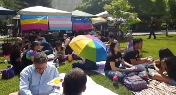 Last year's Queer Picnic, pictured, was the first to be sponsored by the PRIDE Center as part of Sacramento State's Pride Week. This year the Queer Picnic will be held on Tuesday, April 11 at noon on the lawn north of the Library Quad. (Photo courtesy of the Sacramento State PRIDE Center)