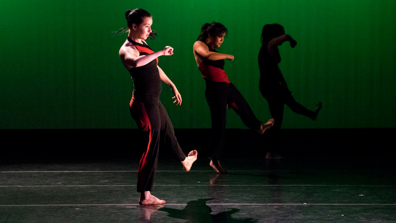 Senior students dance during a rehearsal before their May 4-13 performances at the Senior Dance Show to close out the 2016-17 theater production at Sacramento State. The dance show will be held at Solano Hall 1010. (Photo by Michael Zhang)