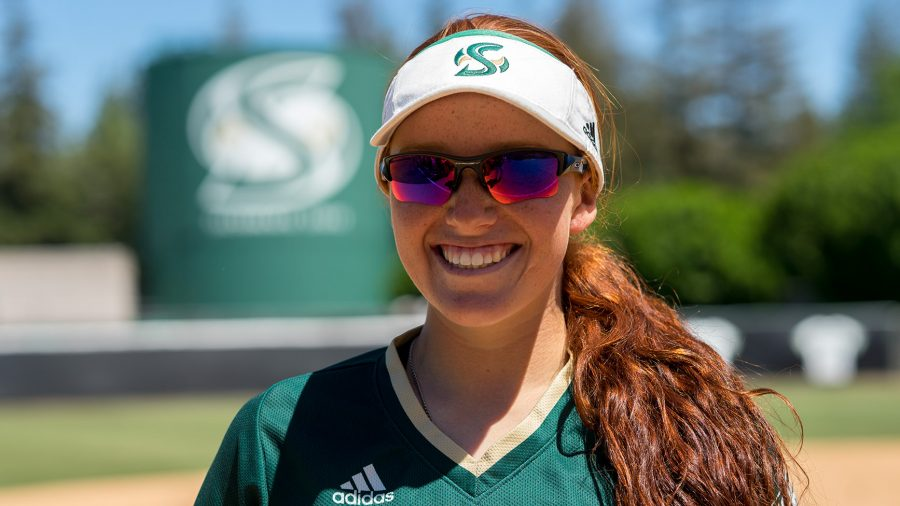Sacramento+State+freshman+outfielder+Suzy+Brookshire+broke+the+school+record+for+most+home+runs+in+a+season+with+13+on+April+22.+Brookshire+leads+the+team+with+a+.363+batting+average+and+a+.719+slugging+percentage.+%28Photo+by+Michael+Zhang%29