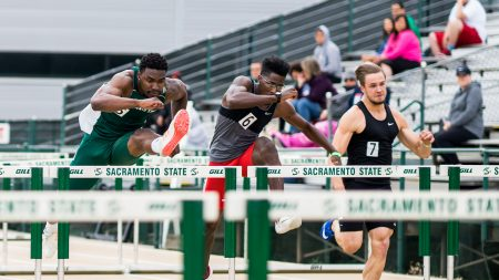 Sacramento State sophomore hurdler Andre Lindsey competes in the 110-meter hurdles Saturday at Hornet Stadium. (Photo by Michael Zhang)